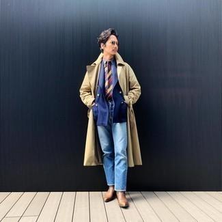 Come indossare e abbinare un blazer doppiopetto blu scuro: Opta per un blazer doppiopetto blu scuro e jeans azzurri per un abbigliamento elegante ma casual. Opta per un paio di stivali chelsea in pelle marroni per dare un tocco classico al completo.