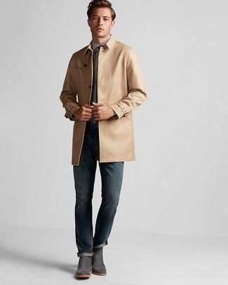 ... Look alla moda per uomo  Trench marrone chiaro 7704d420f90