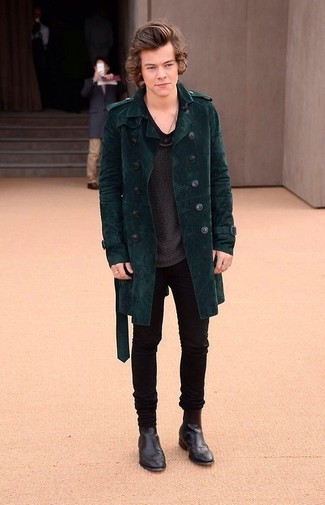 Velluto Trench Verde Styles Di Coste Harry A Look Scuro UItZPvwqxn