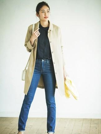 Blu Con Jeans Trench Foto Indossare 42 Chiaro Un Marrone Come qwUf6vnEf