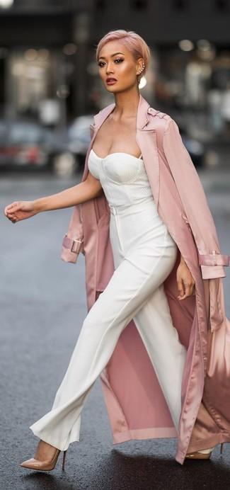 Corsetto Rosa Look Moda Leggero Per Alla Donna Bianco Trench xx0SB1qY