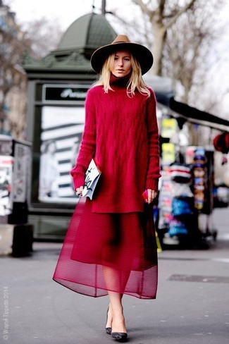 cheap for discount 13c03 a77a8 Look alla moda per donna: Tunica lavorata a maglia rossa ...