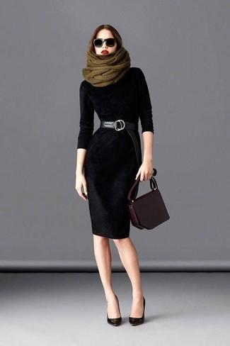 81245a8915 Look alla moda per donna: Vestito a tubino di velluto nero ...