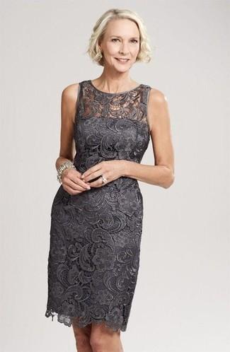 free shipping 36b10 1cdd7 Look alla moda per donna: Vestito a tubino di pizzo grigio ...
