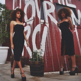 041dbf9ab9 Look alla moda per donna: Vestito a tubino di velluto nero, Sandali ...