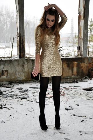 Vestito aderente con paillettes dorato di Flounce London