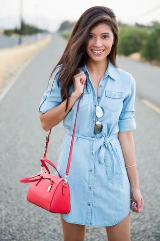 81f4ed24d9375 ... Look alla moda per donna  Vestito chemisier di jeans azzurro