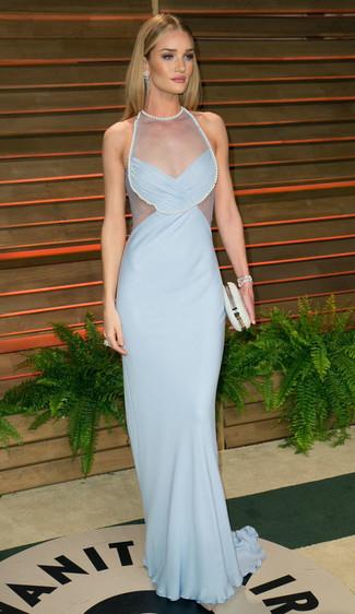 Vestito da sera azzurro pochette decorata bianca large 1402