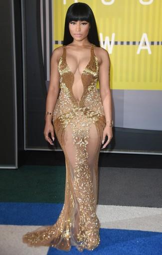 Vestito da sera con perline dorato bracciale dorato anello dorato large 13924