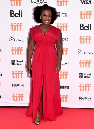 Vestito da sera con spacco rosso sandali con tacco in pelle scamosciata neri pochette nera e dorata large 22637
