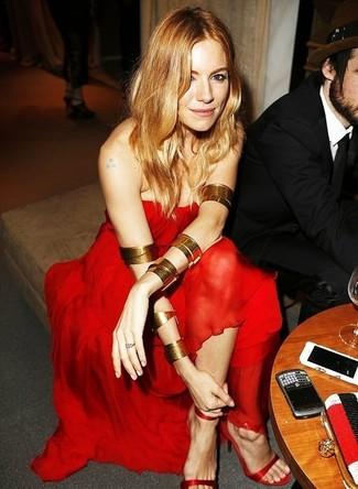 Vestito da sera di chiffon rosso sandali con tacco di seta rossi large 1398