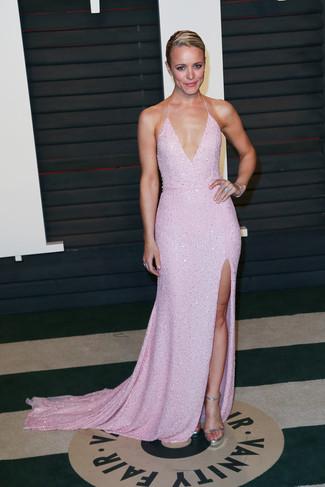Vestito da sera rosa sandali con tacco argento bracciale argento large 22706