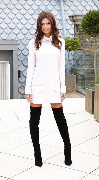 Vestito di maglia bianco stivali sopra il ginocchio in pelle scamosciata neri large 15520
