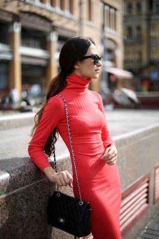 brand new 5b4f0 32453 Look alla moda per donna: Vestito di maglia rosso, Borsa a ...