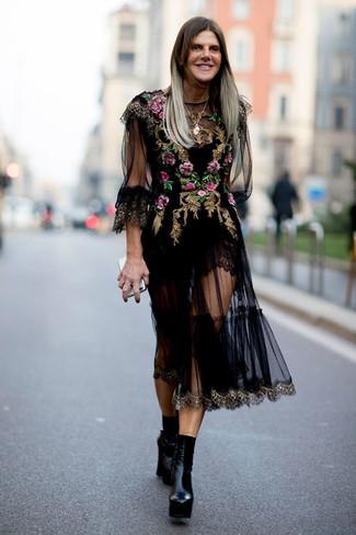 Look alla moda per donna  Vestito longuette in tulle ricamato nero ... 3ffb10317b5