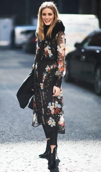5105eacfa1ba Come indossare un vestito longuette nero con stivali in pelle neri ...