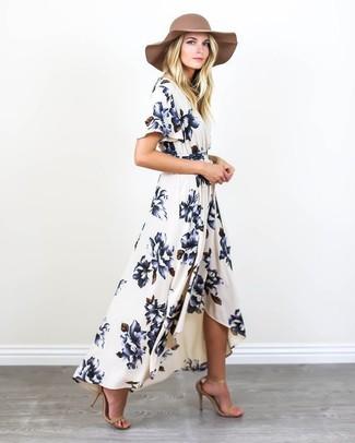best sneakers ce370 1f37b Look alla moda per donna: Vestito lungo a fiori bianco e blu ...