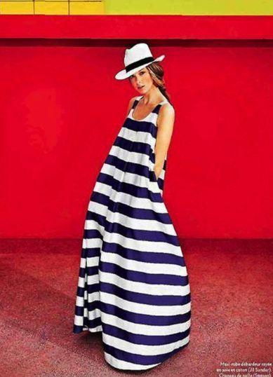 pretty nice ac0fe e4ef9 Look alla moda per donna: Vestito lungo a righe orizzontali ...
