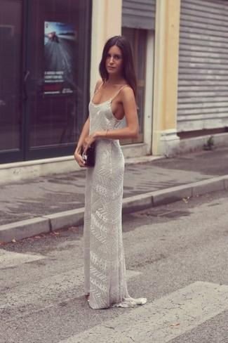 timeless design 1b060 b8692 Look alla moda per donna: Vestito lungo con perline grigio ...