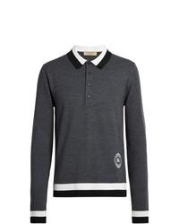 Maglia  a polo di lana grigio scuro di Burberry
