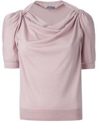 Maglione a maniche corte rosa di Alexander McQueen