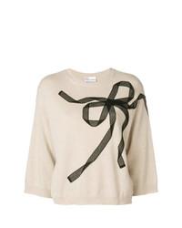 Maglione a maniche corte stampato beige di RED Valentino