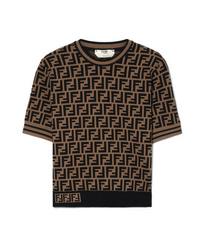 Maglione a maniche corte stampato nero di Fendi