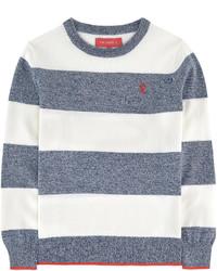 Maglione a righe orizzontali bianco e blu