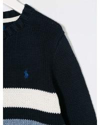 Maglione a righe orizzontali blu scuro e bianco di Ralph Lauren