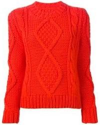 Maglione a trecce arancione