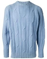 Maglione a trecce azzurro