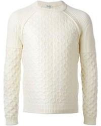 Maglione a trecce bianco
