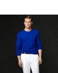 Maglione a trecce blu