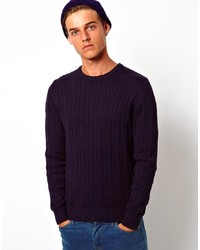 Maglione a trecce blu scuro di Selected