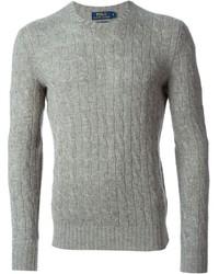 Maglione a trecce grigio
