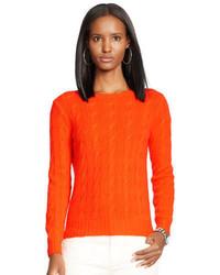 Maglione a trecce lavorato a maglia arancione