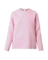 Maglione a trecce rosa