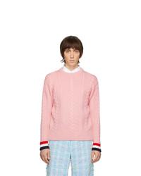Maglione a trecce rosa di Thom Browne