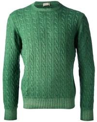 Maglione a trecce verde