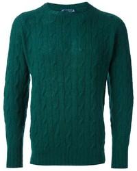 Maglione a trecce verde scuro
