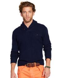 Maglione con collo a scialle blu scuro