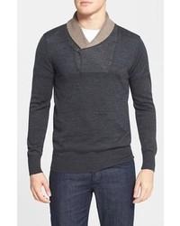 Maglione con collo a scialle grigio scuro