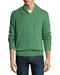 Maglione con collo a scialle lavorato a maglia verde