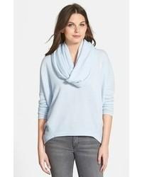 Maglione con scollo a cappuccio azzurro