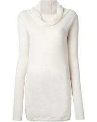 Maglione con scollo a cappuccio bianco di Rick Owens