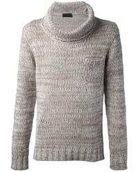 Maglione con scollo a cappuccio grigio