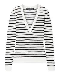 Maglione con scollo a v a righe orizzontali bianco e nero di Veronica Beard