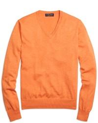 Maglione con scollo a v arancione