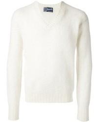 Maglione con scollo a v bianco