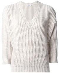 Maglione con scollo a v bianco di Brunello Cucinelli